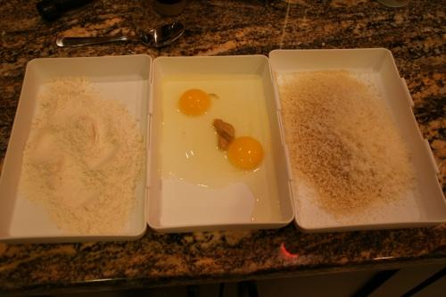 The classic dredge: flour, egg, crumbs...