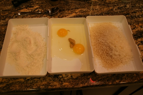 The classic dredge: flour, egg, crumbs...
