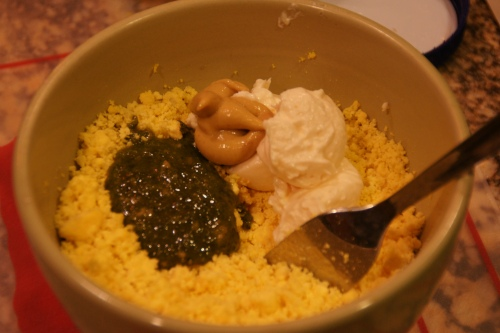 If the pesto is fairly loose (liquid), you may need to add more.  TASTE!
