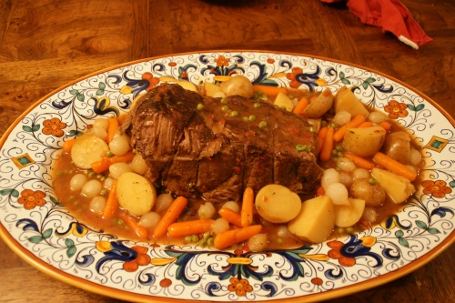 A homey platter of pot roast