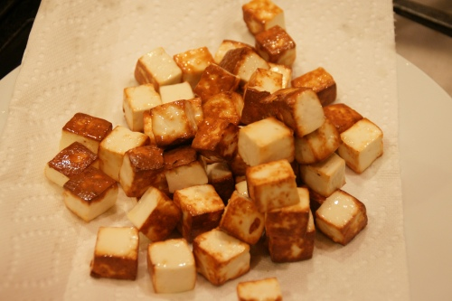 Browned paneer.  Be careful of the sputtering oil!