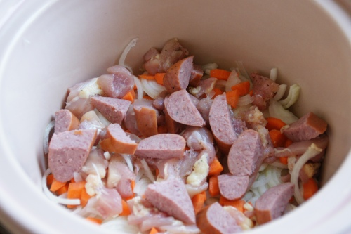 Onions, carrots, chicken, sausage...