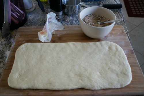 Dough, filling and butter