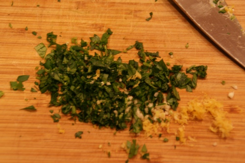 The gremolata adds a fresh zing after so many hours of braising-- we love it!