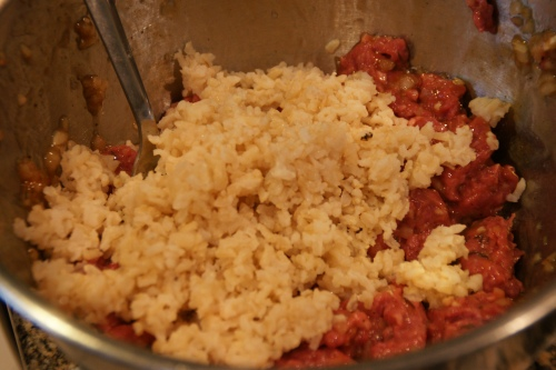 Brown rice is a bit chewier and adds a little more heft to the filling