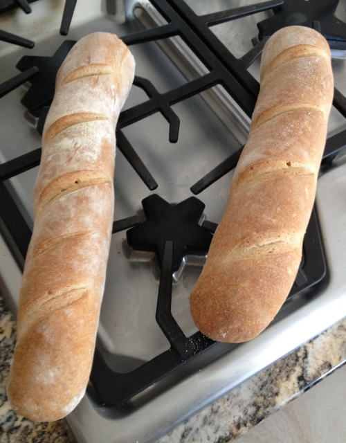 Warm and crusty French baguette