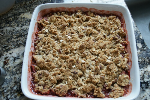 Let the crumble cool so the juices can thicken a bit!