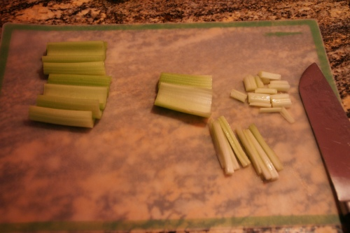 You're making little celery sticks