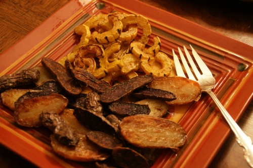 Fingerlings and delicata squash (just because I had it lying around-- Brussels sprout mash would have been better)!