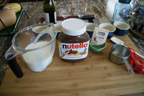 Milk/cream, Nutella, gelatin (I use Knox packets and measure)